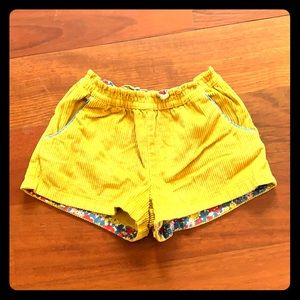 Mini Boden Yellow Corduroy Shorts
